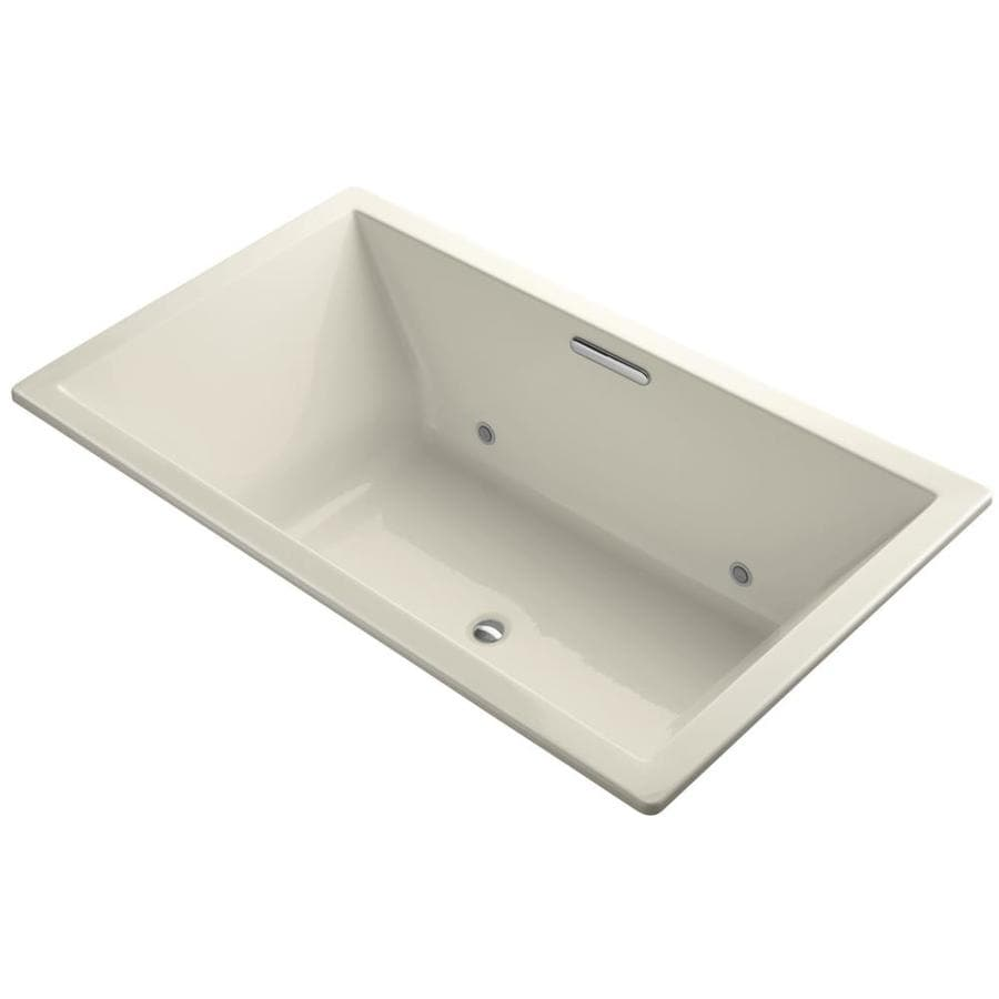 KOHLER Underscore 72-in Almond Acrylic Drop-In Bathtub with Center Drain
