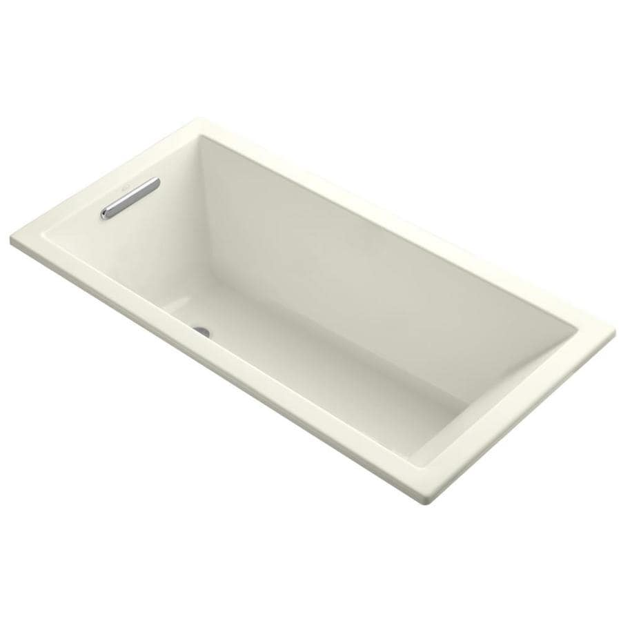 KOHLER Underscore Biscuit Acrylic Rectangular Drop-in Bathtub with Left-Hand Drain (Common: 30-in x 60-in; Actual: 19-in x 30-in x 60-in)