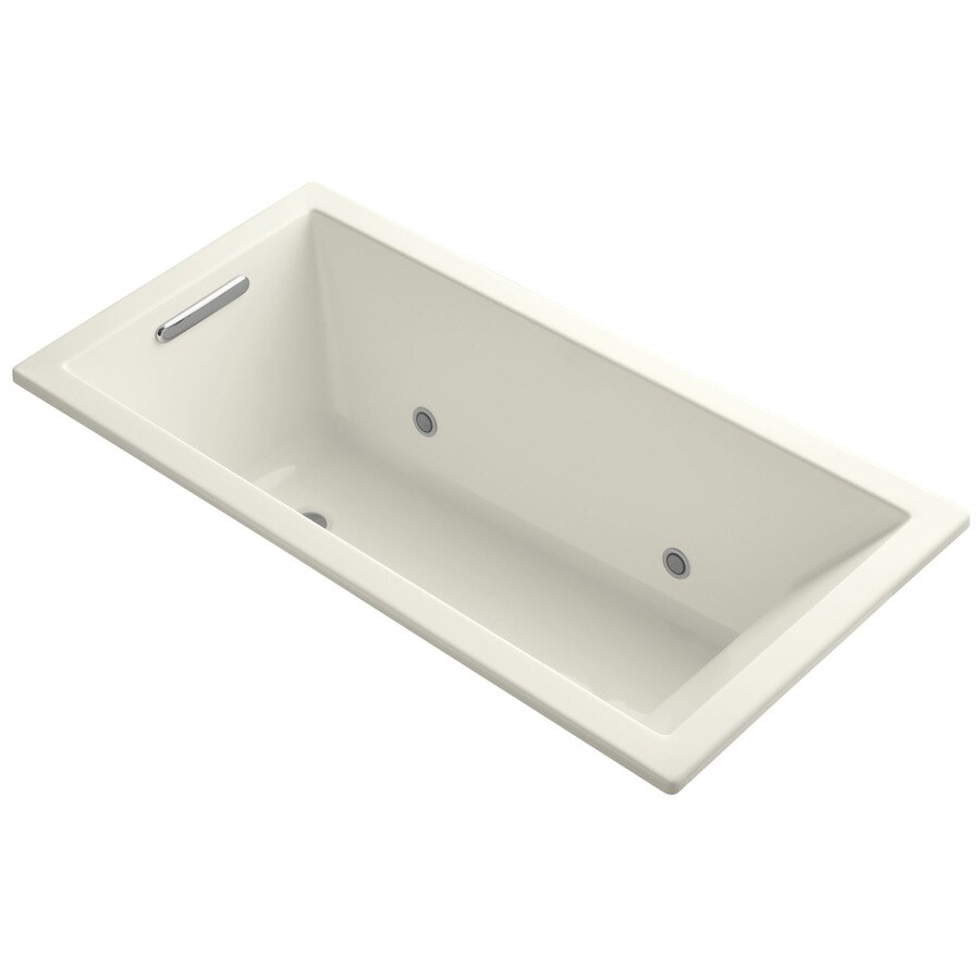 KOHLER Underscore Biscuit Acrylic Rectangular Alcove Bathtub with Center Drain (Common: 30-in x 60-in; Actual: 19-in x 30-in x 60-in)