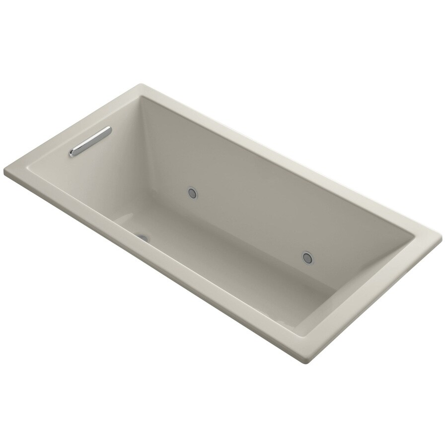 KOHLER Underscore 60-in Sandbar Acrylic Alcove Bathtub with Center Drain
