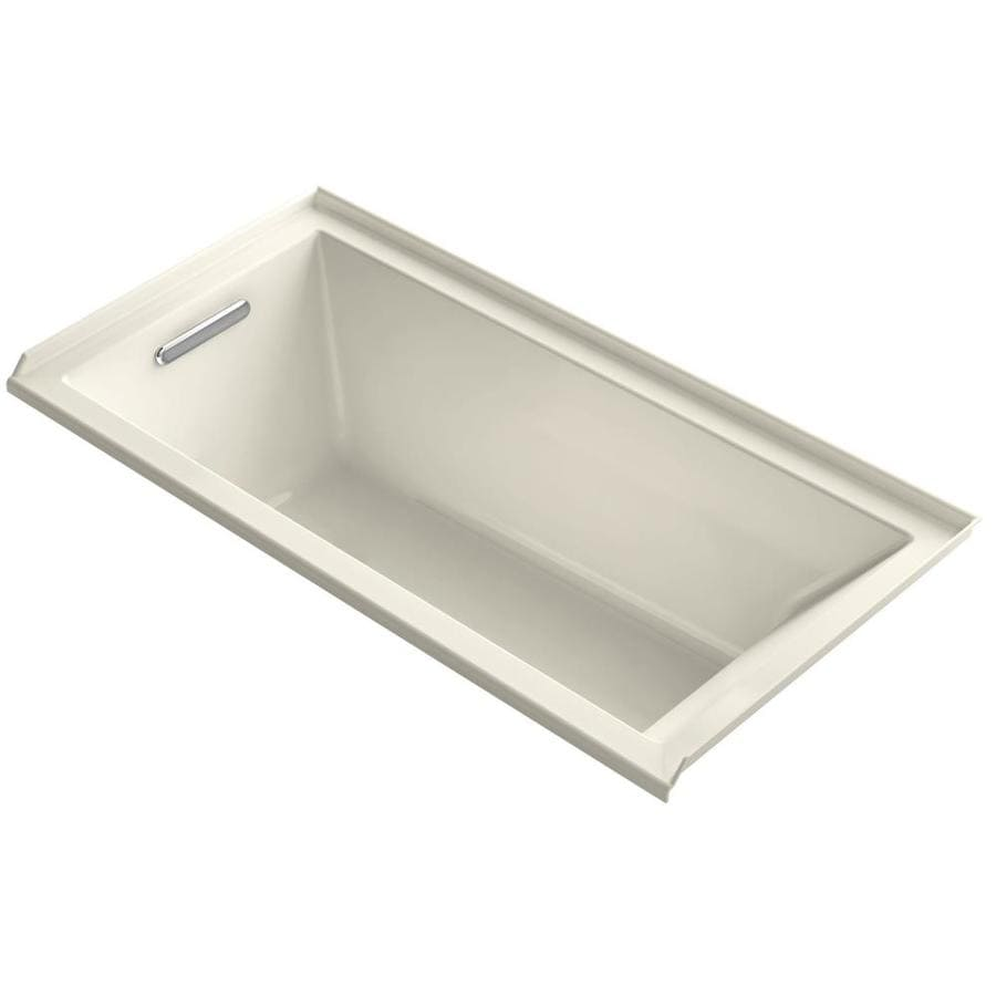 KOHLER Underscore Almond Acrylic Rectangular Alcove Bathtub with Left-Hand Drain (Common: 30-in x 60-in; Actual: 19-in x 30-in x 60-in)