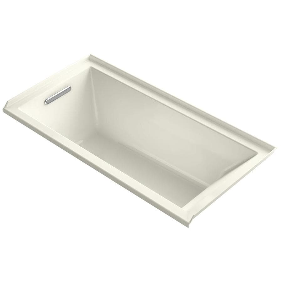 KOHLER Underscore Biscuit Acrylic Rectangular Alcove Bathtub with Left-Hand Drain (Common: 30-in x 60-in; Actual: 19-in x 30-in x 60-in)
