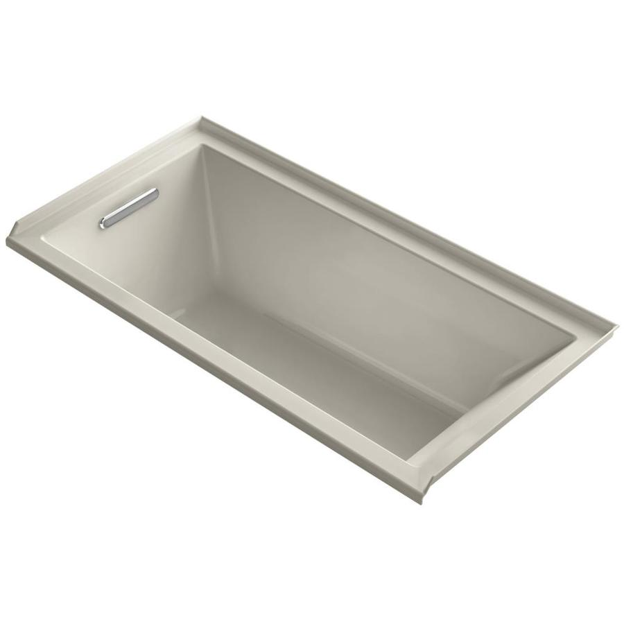 KOHLER Underscore Sandbar Acrylic Rectangular Alcove Bathtub with Left-Hand Drain (Common: 30-in x 60-in; Actual: 19-in x 30-in x 60-in)