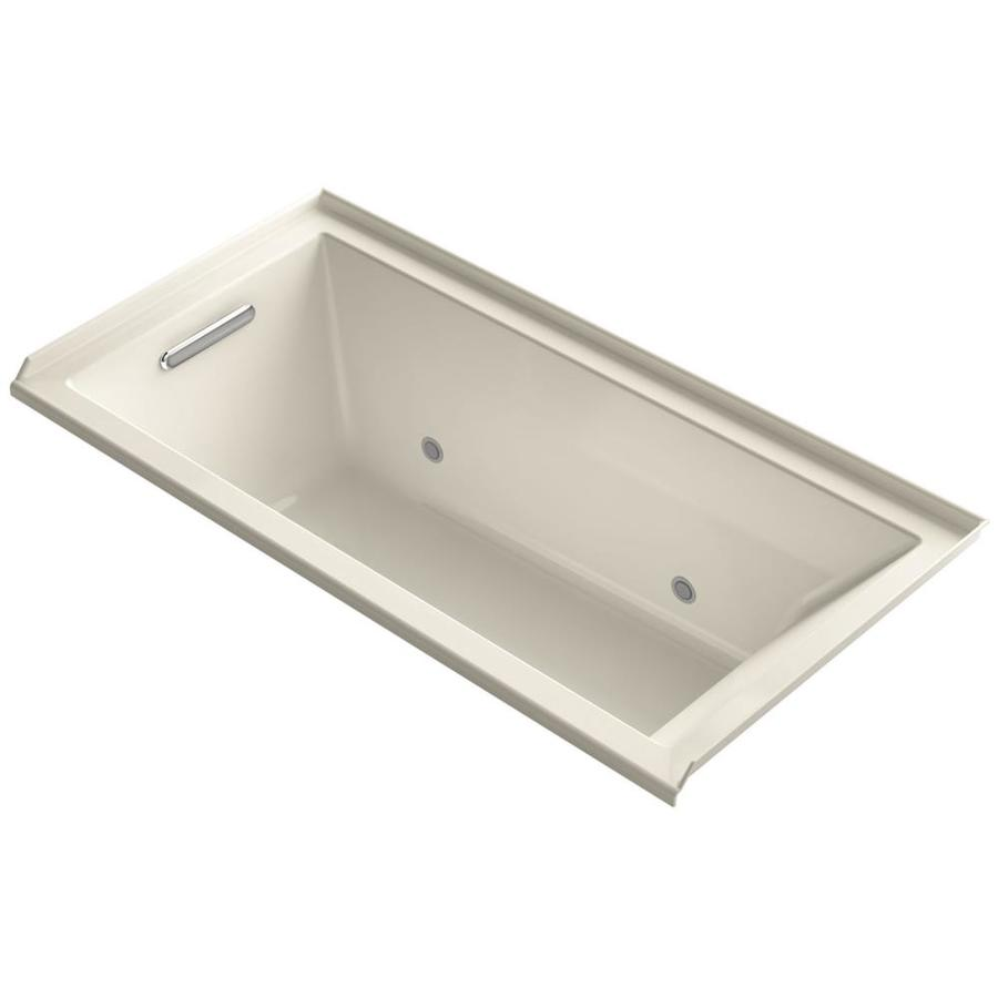 KOHLER Underscore 60-in Almond Acrylic Alcove Bathtub with Left-Hand Drain