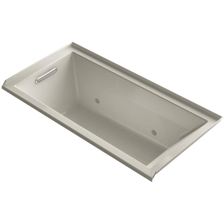KOHLER Underscore 60-in Sandbar Acrylic Alcove Bathtub with Left-Hand Drain