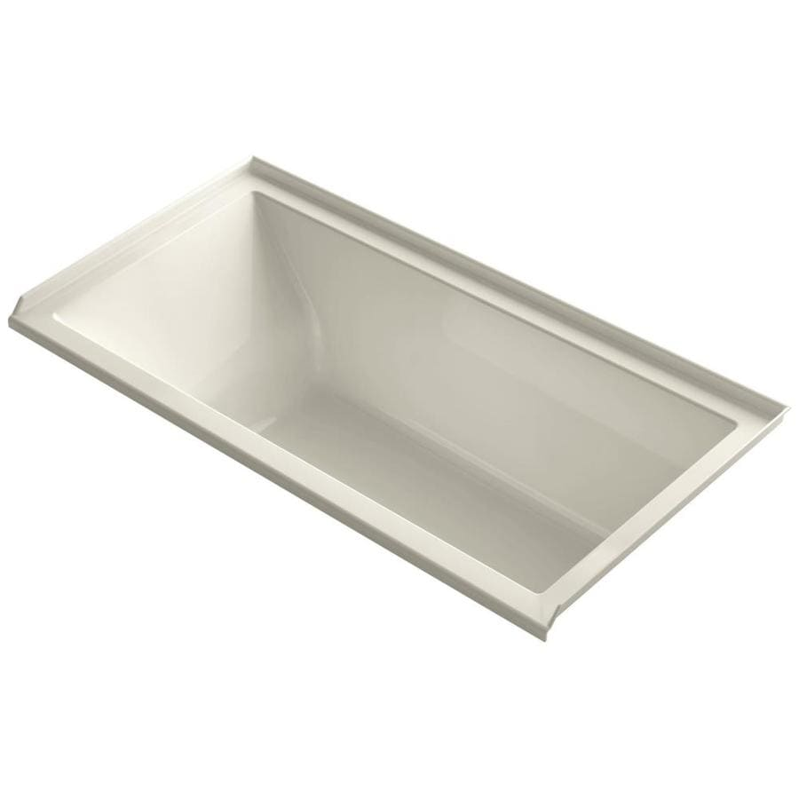KOHLER Underscore Almond Acrylic Rectangular Alcove Bathtub with Right-Hand Drain (Common: 30-in x 60-in; Actual: 19-in x 30-in x 60-in)