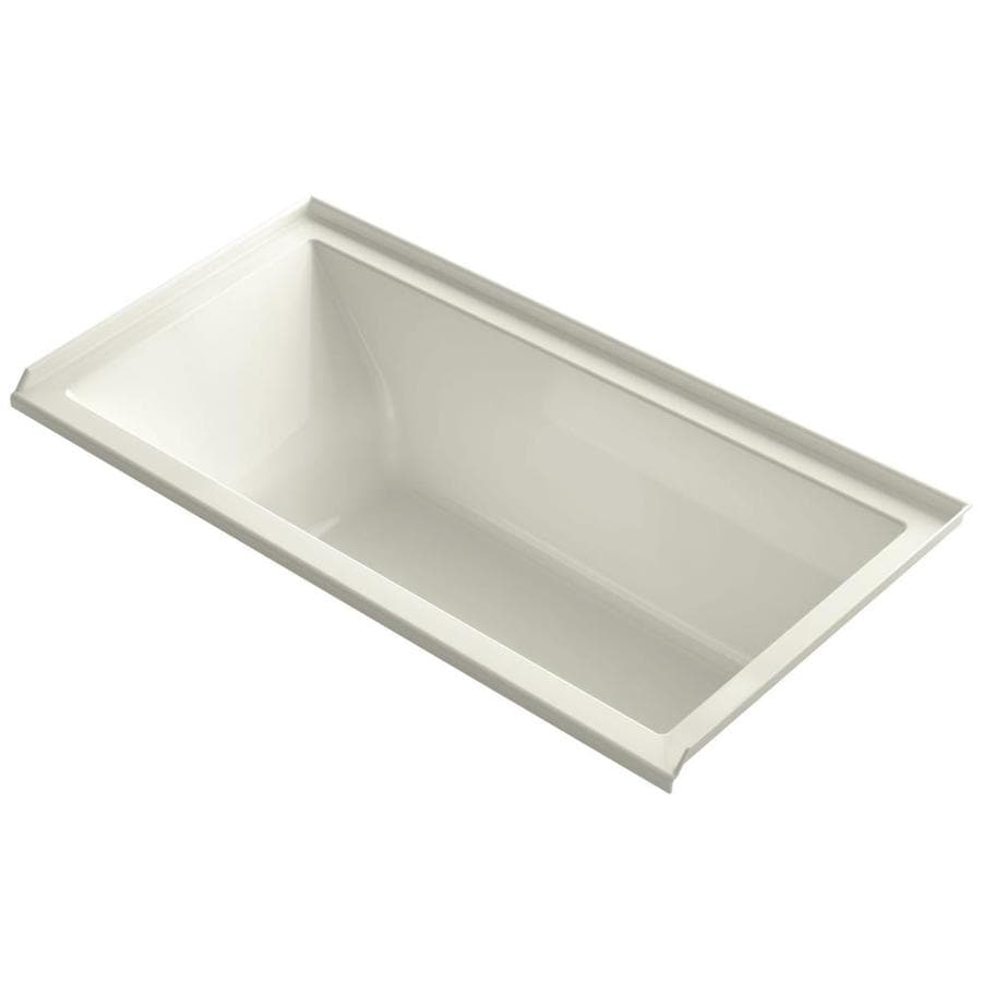 KOHLER Underscore Biscuit Acrylic Rectangular Drop-in Bathtub with Right-Hand Drain (Common: 30-in x 60-in; Actual: 19-in x 30-in x 60-in)
