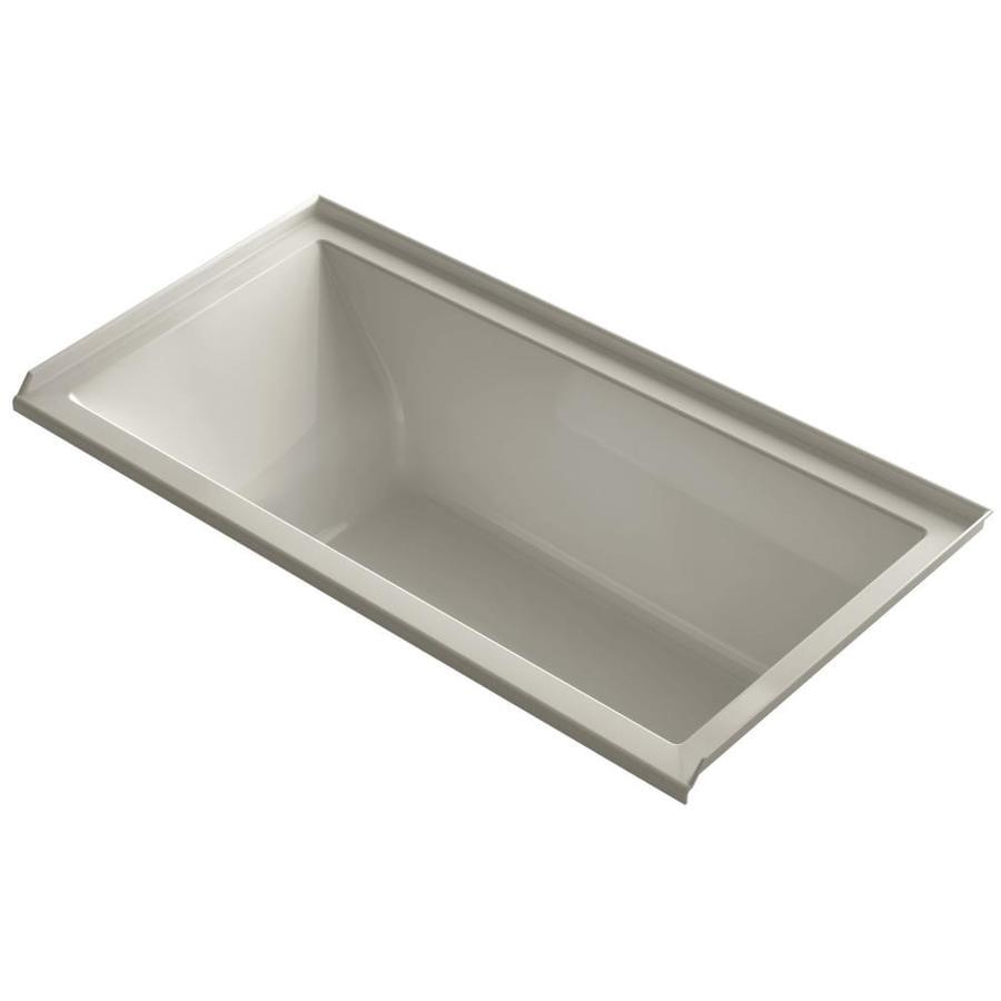 KOHLER Underscore 60-in Sandbar Acrylic Alcove Bathtub with Right-Hand Drain