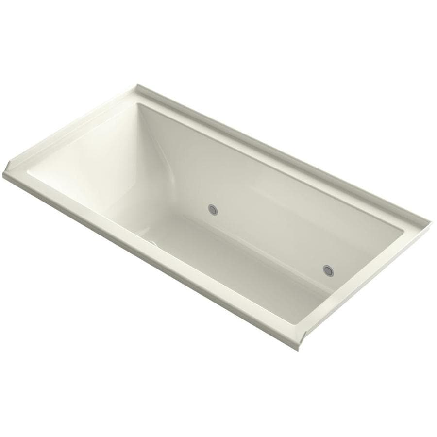 KOHLER Underscore 60-in Biscuit Acrylic Alcove Bathtub with Right-Hand Drain