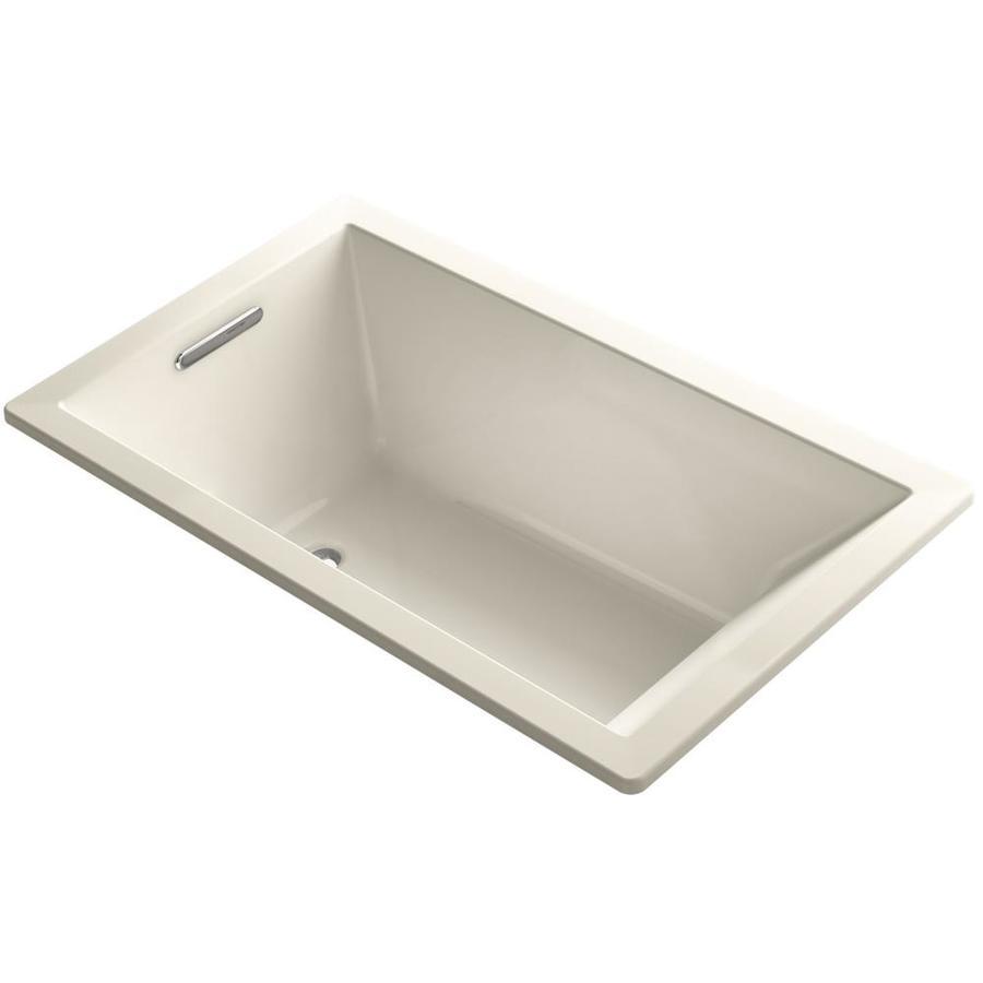 KOHLER Underscore Almond Acrylic Rectangular Drop-in Bathtub with Left-Hand Drain (Common: 36-in x 60-in; Actual: 21-in x 36-in x 60-in)