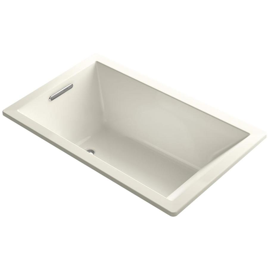 KOHLER Underscore Biscuit Acrylic Rectangular Drop-in Bathtub with Left-Hand Drain (Common: 36-in x 60-in; Actual: 21-in x 36-in x 60-in)