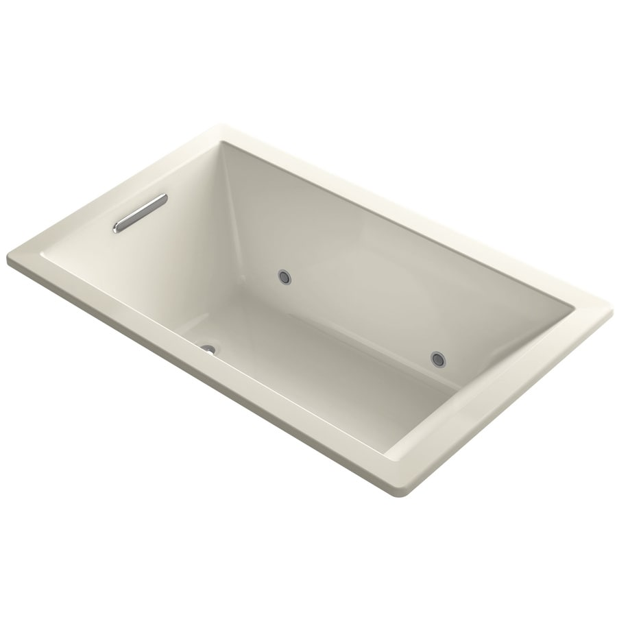 KOHLER Underscore Almond Acrylic Rectangular Drop-in Bathtub with Center Drain (Common: 36-in x 60-in; Actual: 21-in x 36-in x 60-in)