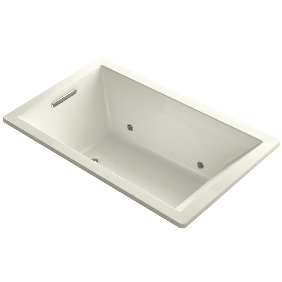 KOHLER Underscore Biscuit Acrylic Rectangular Drop-in Bathtub with Center Drain (Common: 36-in x 60-in; Actual: 21-in x 36-in x 60-in)