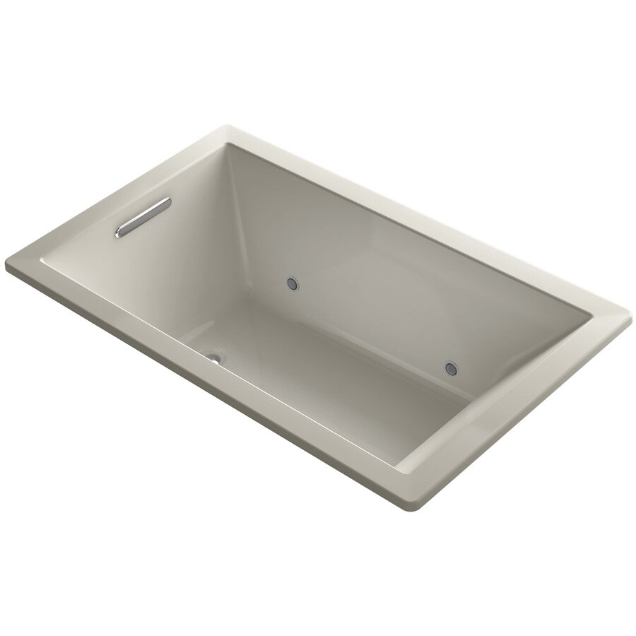 KOHLER Underscore Sandbar Acrylic Rectangular Drop-in Bathtub with Center Drain (Common: 36-in x 60-in; Actual: 21-in x 36-in x 60-in)