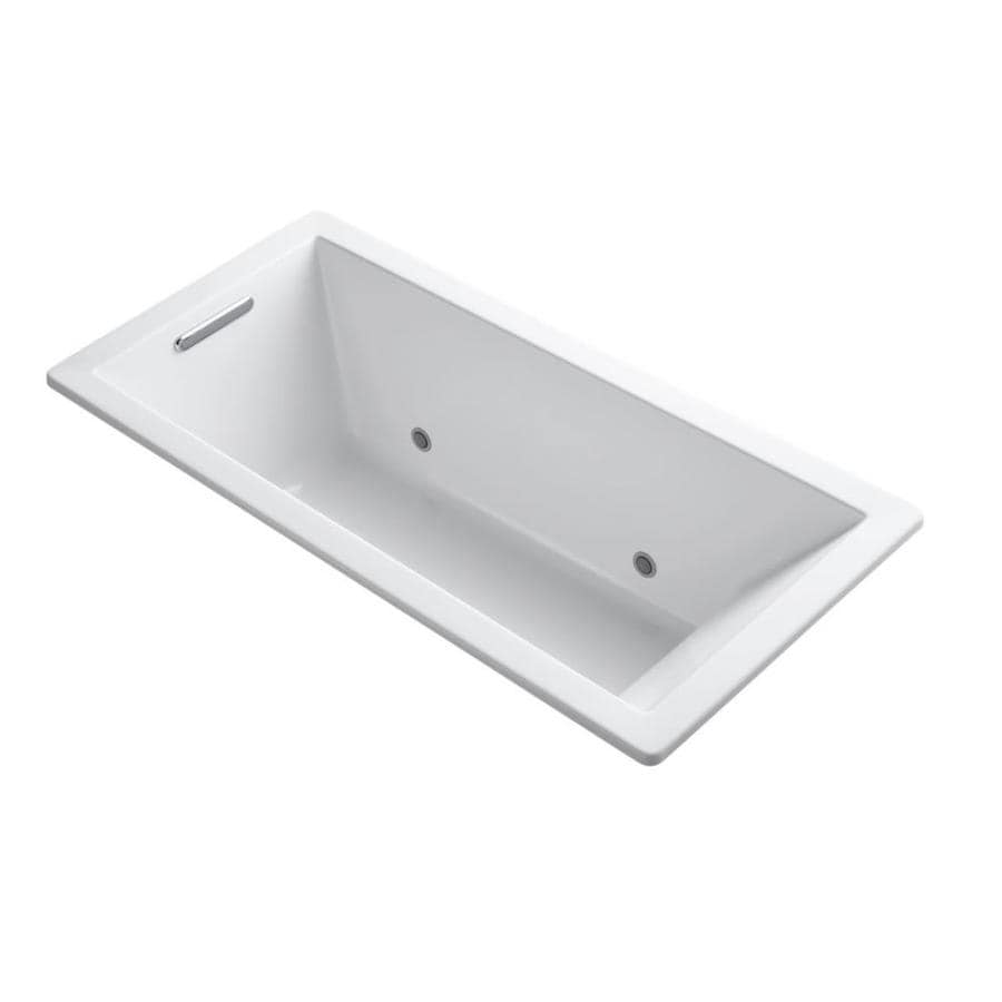 KOHLER Underscore 66-in White Acrylic Drop-In Bathtub with Reversible Drain
