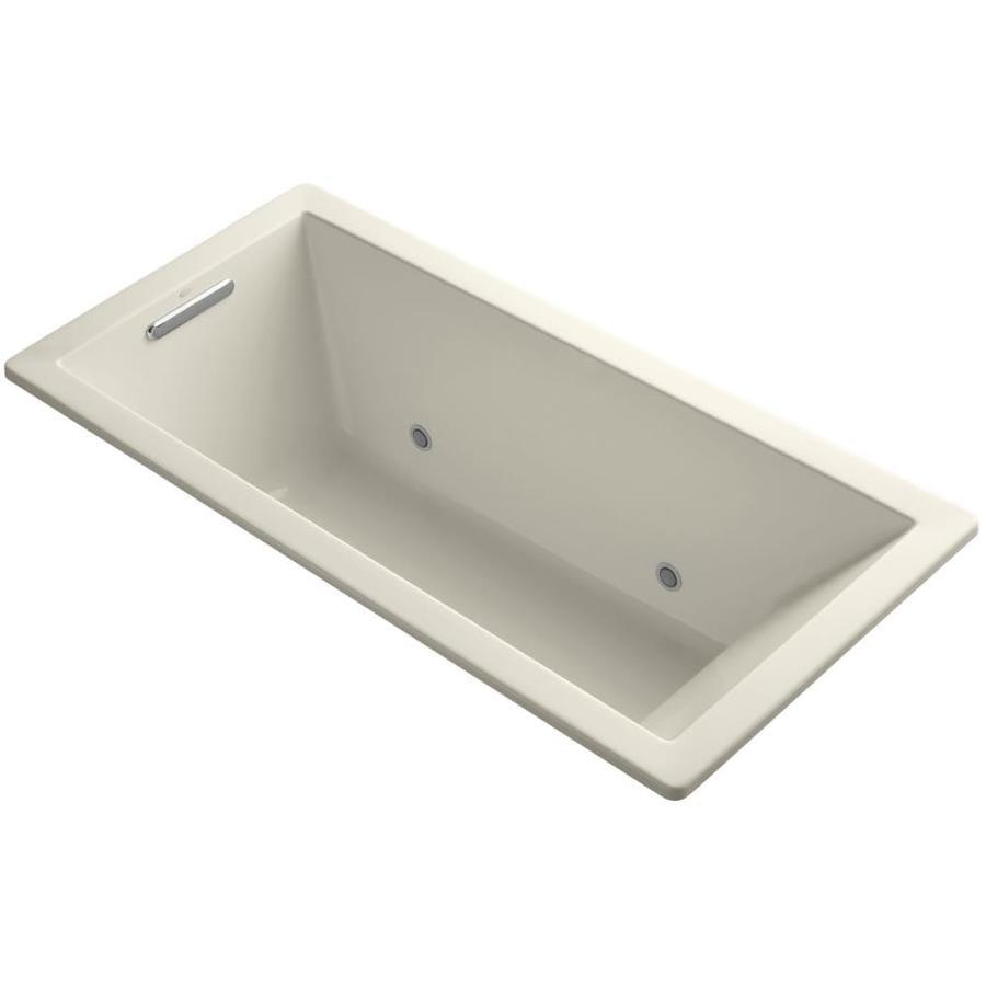 KOHLER Underscore Almond Acrylic Rectangular Drop-in Bathtub with Center Drain (Common: 32-in x 66-in; Actual: 22-in x 32-in x 66-in)