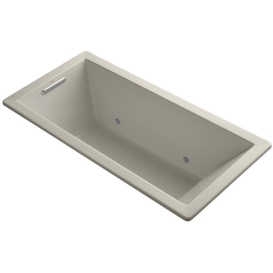 KOHLER Underscore Sandbar Acrylic Rectangular Drop-in Bathtub with Center Drain (Common: 32-in x 66-in; Actual: 22-in x 32-in x 66-in)