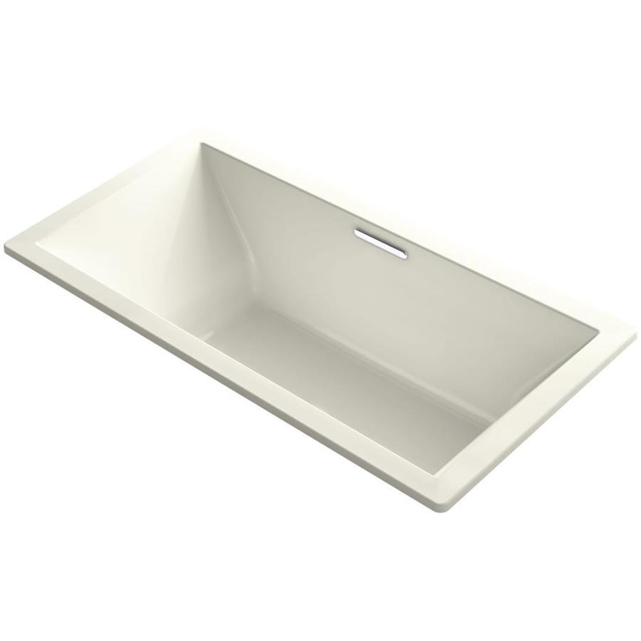 KOHLER Underscore Biscuit Acrylic Rectangular Drop-in Bathtub with Center Drain (Common: 36-in x 72-in; Actual: 23-in x 36-in x 72-in)