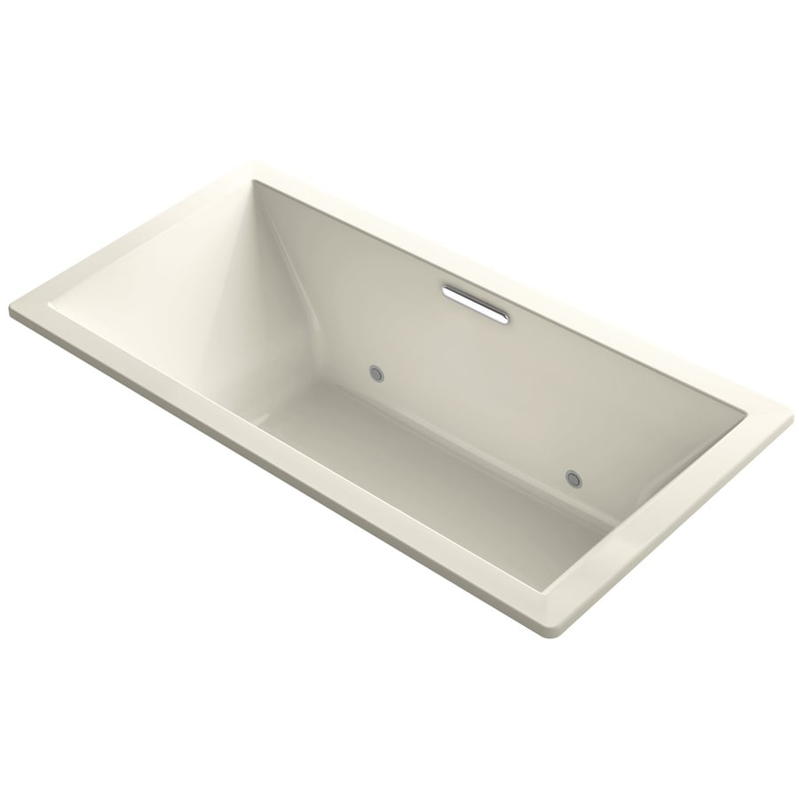 KOHLER Underscore Almond Acrylic Rectangular Drop-in Bathtub with Center Drain (Common: 36-in x 73-in; Actual: 23-in x 36-in x 73-in)