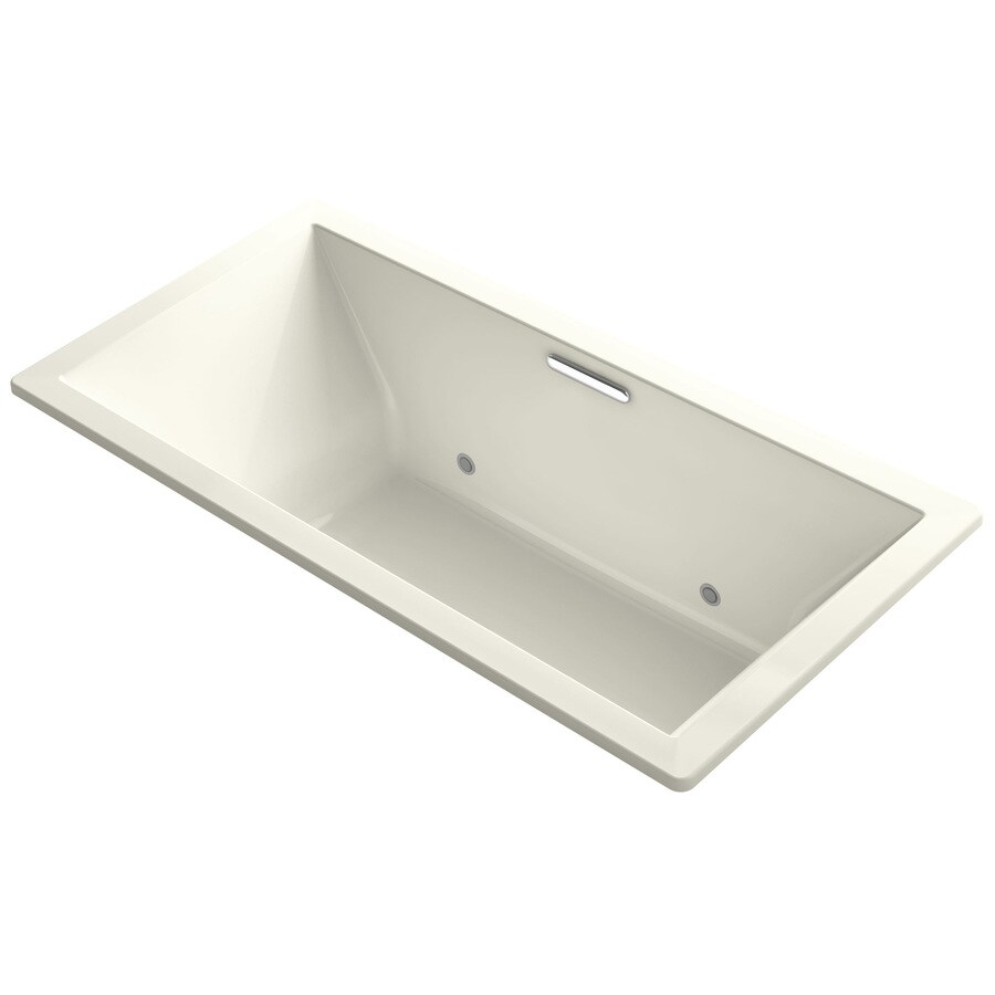 KOHLER Underscore 73-in Biscuit Acrylic Drop-In Bathtub with Center Drain