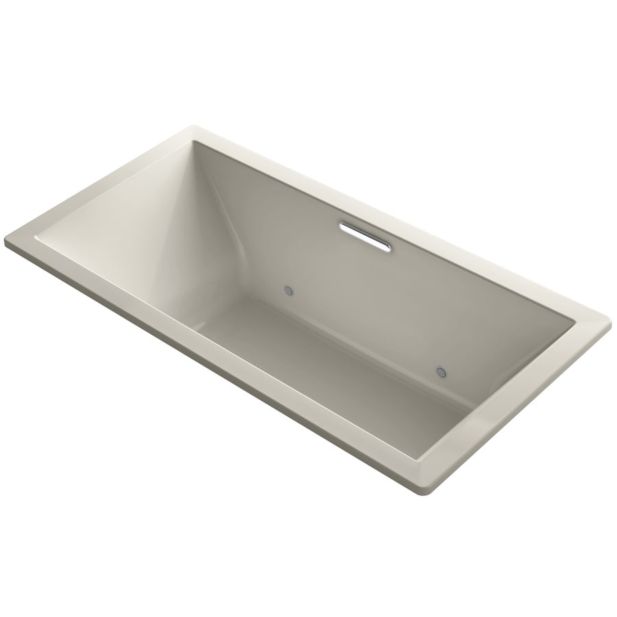 KOHLER Underscore Sandbar Acrylic Rectangular Drop-in Bathtub with Center Drain (Common: 36-in x 73-in; Actual: 23.0-in x 36.0-in x 73.0-in)
