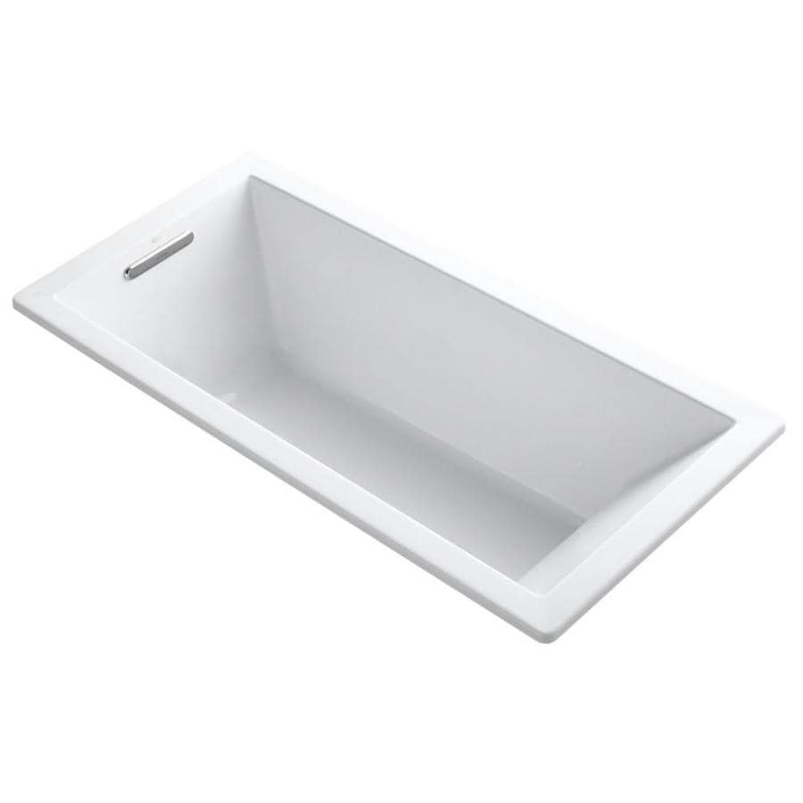 KOHLER Underscore White Acrylic Rectangular Drop-in Bathtub with Reversible Drain (Common: 32-in x 66-in; Actual: 22-in x 32-in x 66-in)