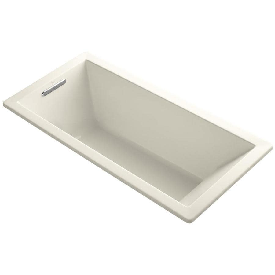 KOHLER Underscore Almond Acrylic Rectangular Drop-in Bathtub with Left-Hand Drain (Common: 32-in x 66-in; Actual: 22-in x 32-in x 66-in)
