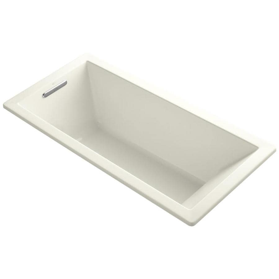 KOHLER Underscore Biscuit Acrylic Rectangular Drop-in Bathtub with Left-Hand Drain (Common: 32-in x 66-in; Actual: 22-in x 32-in x 66-in)