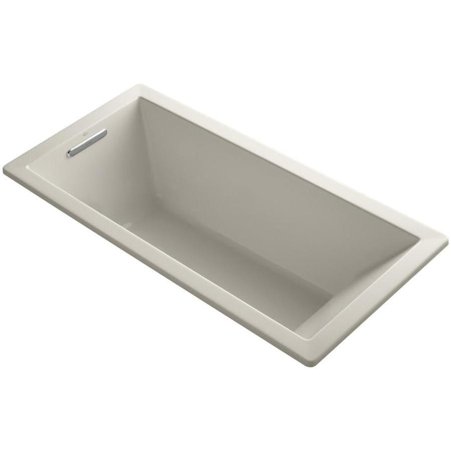 KOHLER Underscore Sandbar Acrylic Rectangular Drop-in Bathtub with Left-Hand Drain (Common: 32-in x 66-in; Actual: 22-in x 32-in x 66-in)