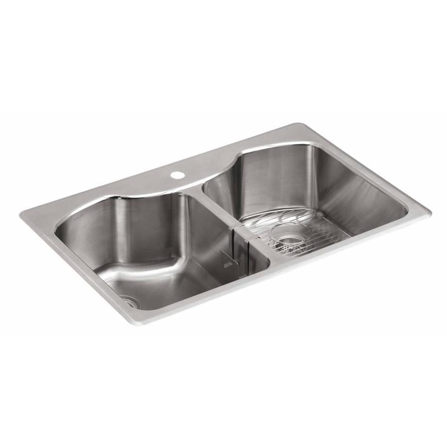 KOHLER 22-in x 33-in Stainless Steel Double-Basin Undermount 1-Hole ...