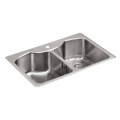 KOHLER 33-in x 22-in Stainless Steel Double Equal Bowl ...