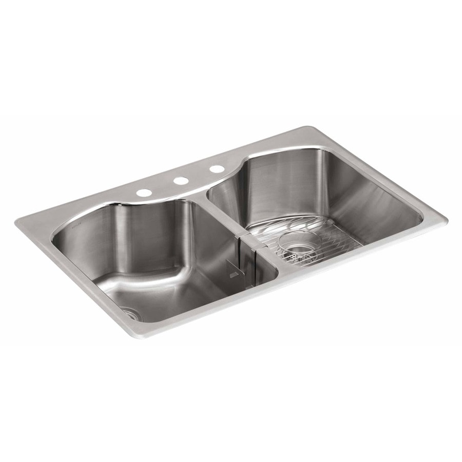 KOHLER 22-in x 33-in Stainless Steel Single-Basin-Basin Stainless Steel Undermount 3-Hole Residential Kitchen Sink