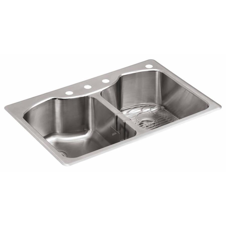 KOHLER 22-in x 33-in Stainless Steel Double-Basin Undermount 4-Hole Residential Kitchen Sink