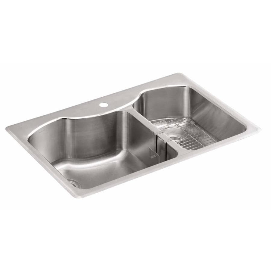KOHLER 22-in x 33-in Double-Basin Stainless Steel Undermount 1-Hole Residential Kitchen Sink