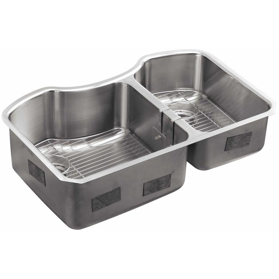 Shop KOHLER 20.25-in x 32-in Stainless Steel Double-Basin Undermount ...