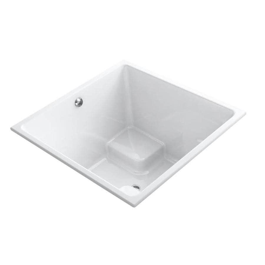 KOHLER Underscore 48-in White Acrylic Drop-In Bathtub with Center Drain