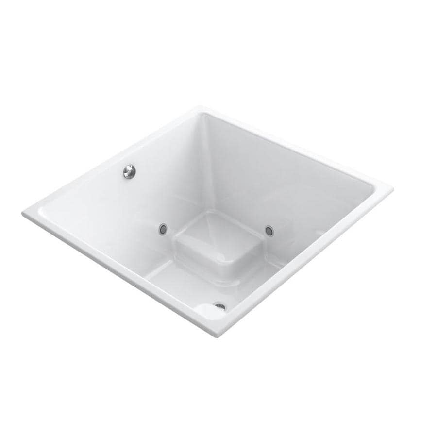 KOHLER Underscore White Acrylic Square Drop-in Bathtub with Center Drain (Common: 48-in x 48-in; Actual: 34-in x 48-in x 48-in)