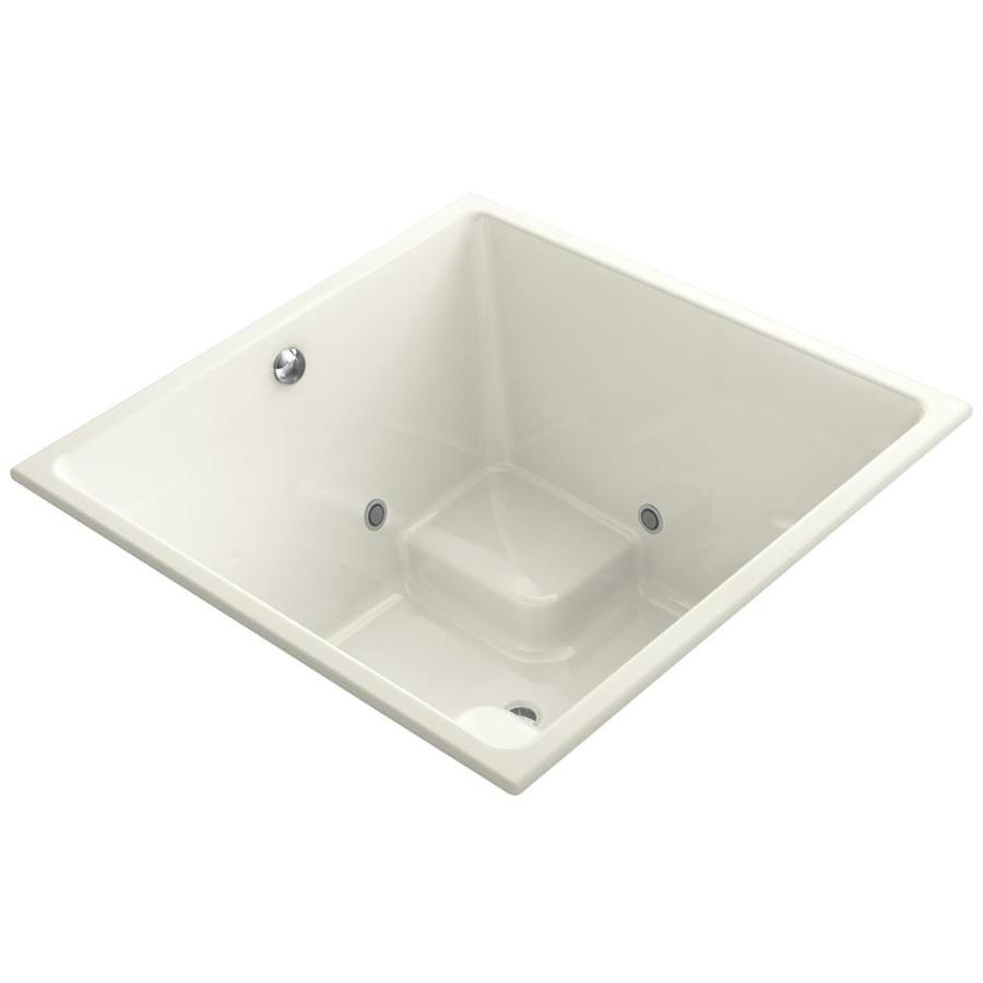 KOHLER Underscore Almond Acrylic Rectangular Drop-in Bathtub with Center Drain (Common: 48-in x 48-in; Actual: 34-in x 48-in x 48-in)
