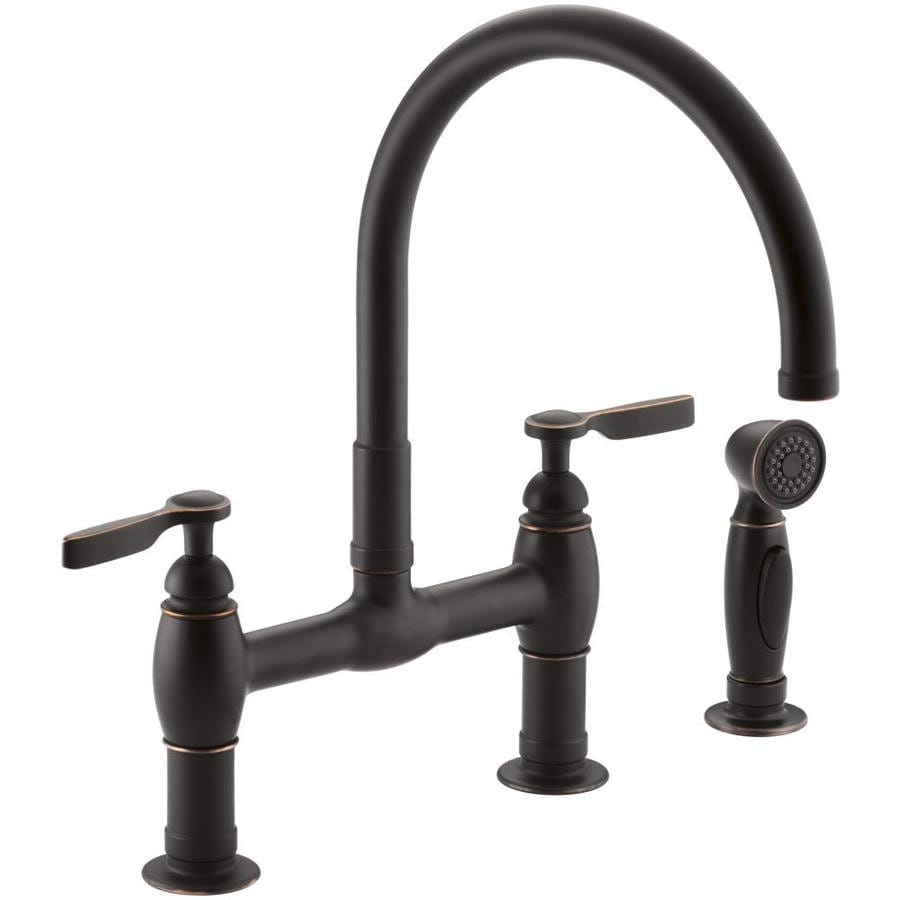 KOHLER Parq Oil-Rubbed Bronze 2-Handle High-Arc Kitchen Faucet with Side Spray