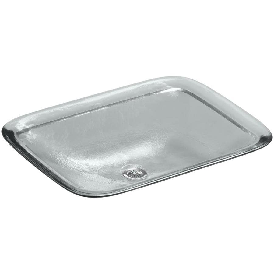 Shop Kohler Inia Ice Glass Drop In Rectangular Bathroom Sink At
