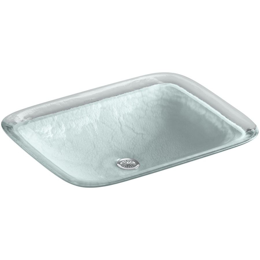 Shop KOHLER Inia Opaque Dew Glass Drop-in Rectangular Bathroom Sink at ...