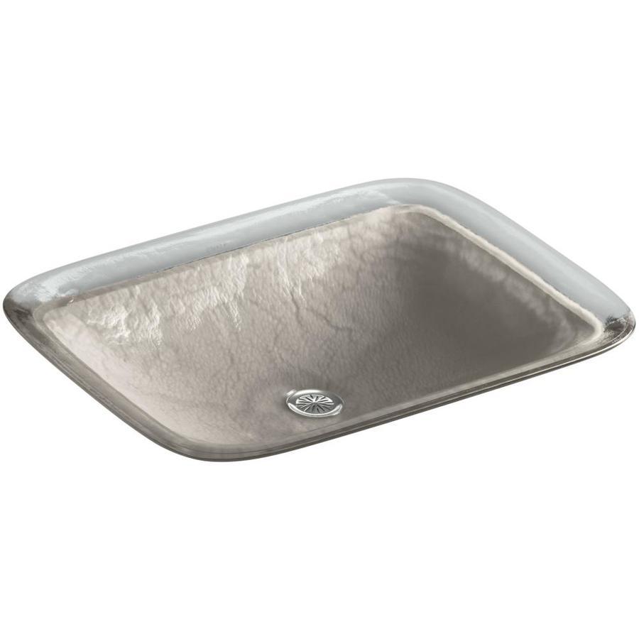 KOHLER Inia Opaque Dew Glass Drop-in Rectangular Bathroom Sink