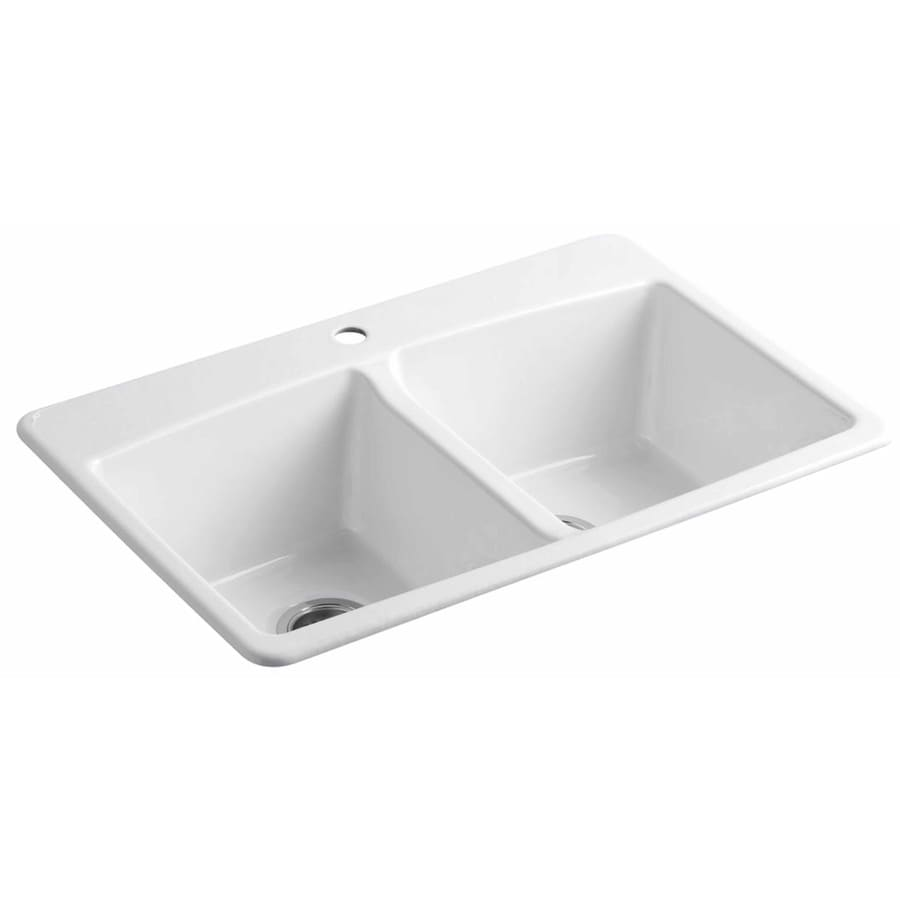 KOHLER 22-in x 33-in White Double-Basin Cast Iron Drop-in 1-Hole Residential Kitchen Sink