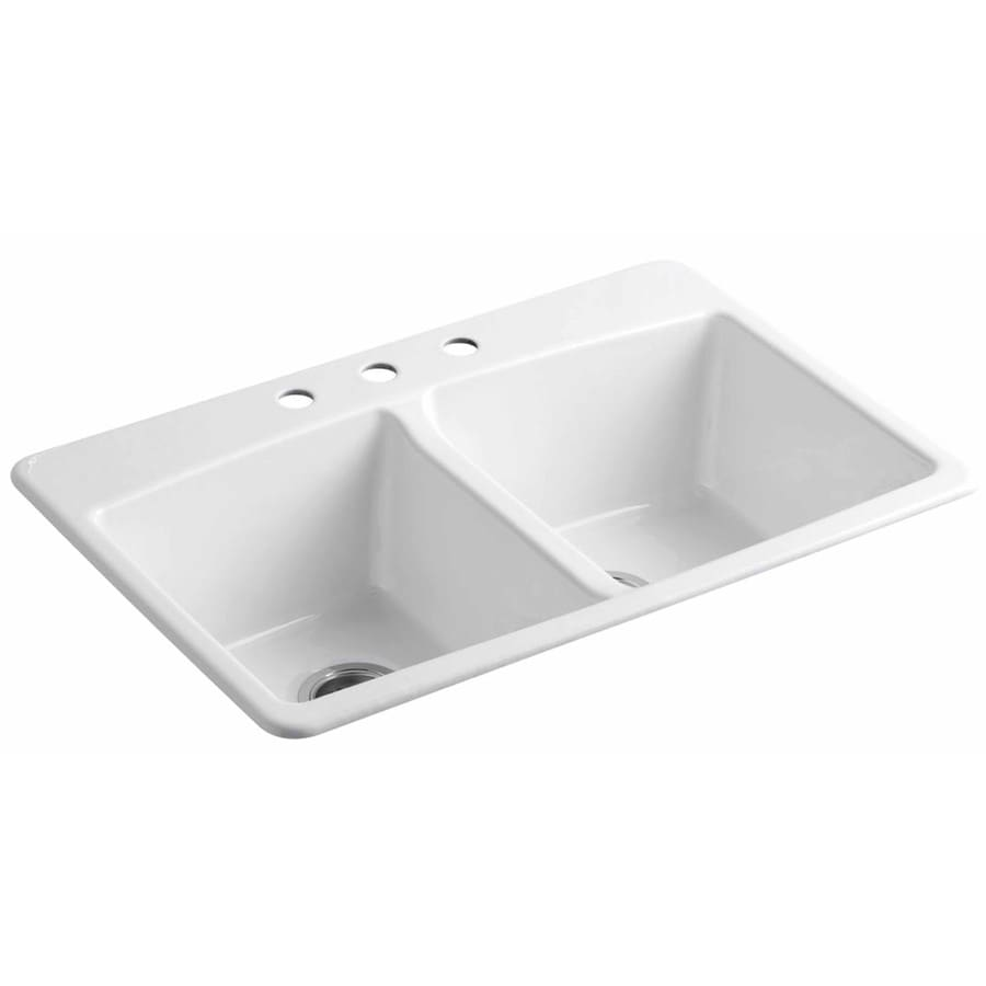White Double Kitchen Sink : ... White Double-Basin Cast Iron Drop-in 3-Hole Residential Kitchen Sink