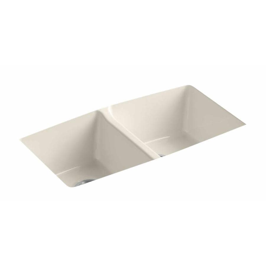 KOHLER 22-in x 33-in Almond Double-Basin Cast Iron Undermount Residential Kitchen Sink