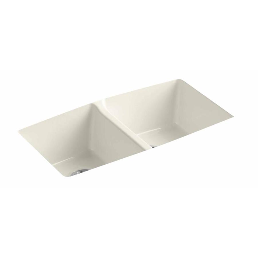 KOHLER 22-in x 33-in Biscuit Double-Basin Cast Iron Undermount Residential Kitchen Sink