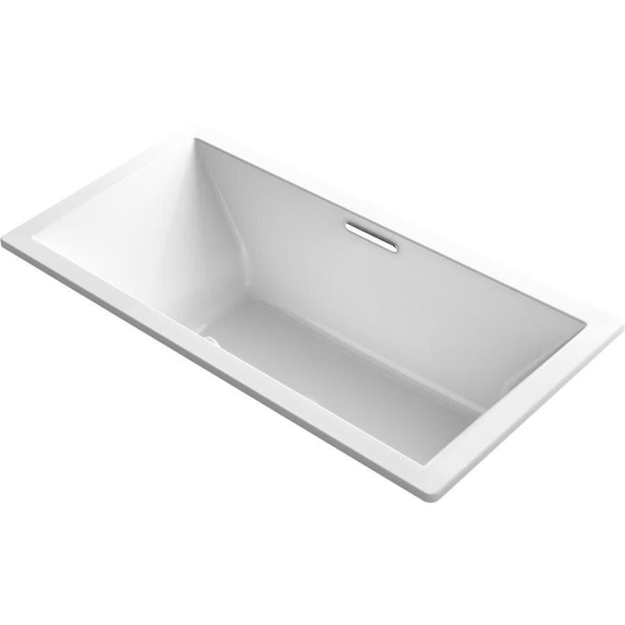 KOHLER Underscore 72-in White Acrylic Drop-In Bathtub with Center Drain