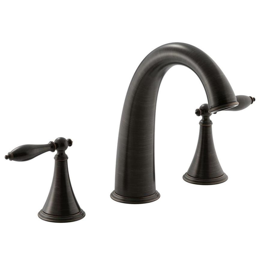 Shop Kohler Finial Traditional Oil Rubbed Bronze 2 Handle Deck Mount Bathtub Faucet At