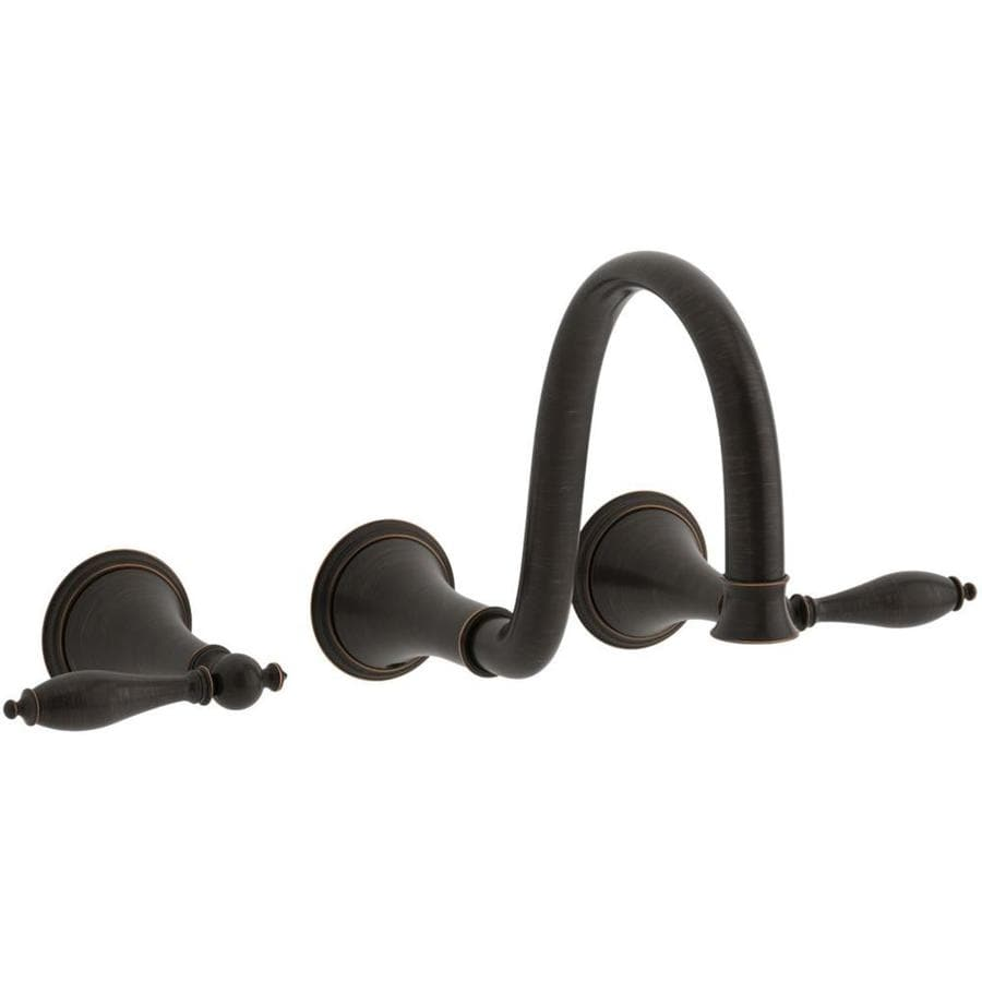 Simple OilRubbed Bronze 2Handle Widespread WaterSense Bathroom Faucet