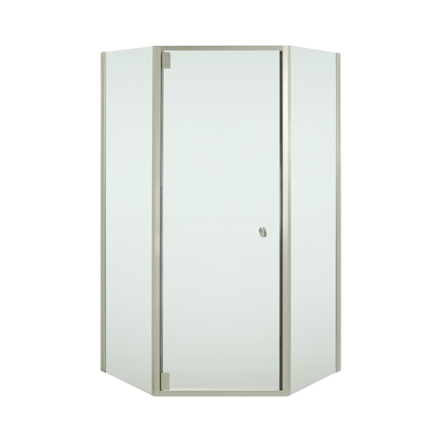 Sterling Solitaire 36.125-in W x 72-in H Brushed Nickel Neo-Angle Shower Door